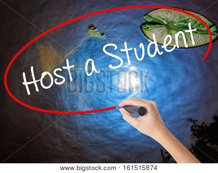 Woman Hand Writing Host A Student With Marker Over Transparent Board.