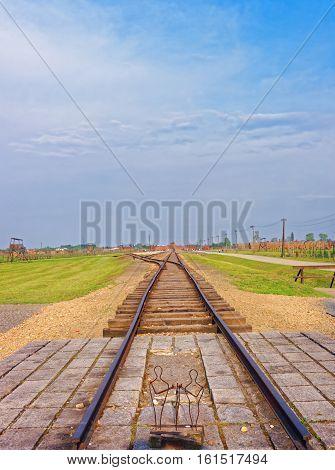 Oswiecim, Poland - May 2, 2014: Rail track of Auschwitz Birkenau concentration camp Poland.