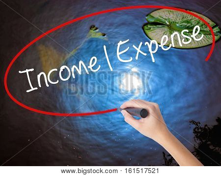 Woman Hand Writing Income Expense With Marker Over Transparent Board