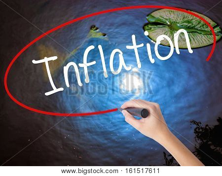 Woman Hand Writing Inflation With Marker Over Transparent Board.