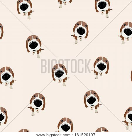 Jack Russell Terrier Vector Seamless pattern. Dog with big head and nose