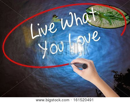Woman Hand Writing Live What You Love  With Marker Over Transparent Board