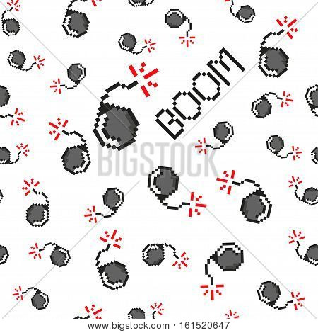Pixel art vector objects to create Fashion seamless pattern. Background with bombs, boom for boys. trendy 80s-90s pixel art style