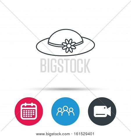 Female hat with flower icon. Women headdress sign. Group of people, video cam and calendar icons. Vector