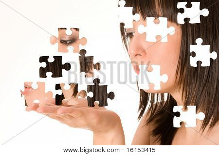 Beautiful girl with puzzle effect