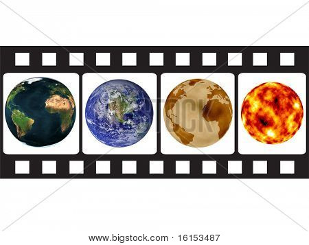 Camera film contain earth globes and sun