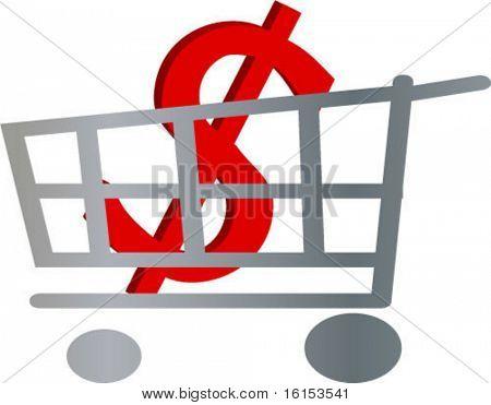 Pushcart contain symbol of dollar -vector illustration