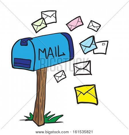 mailbox with letters cartoon illustration