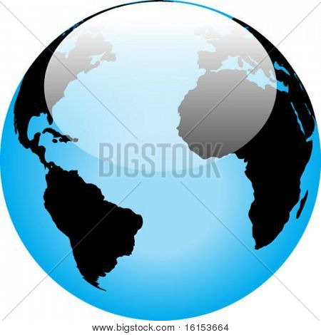 Blue interface orb with a world map - vector illustration