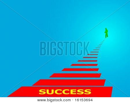 Human silhouette going for success - vector illustration