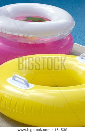 Swimming Pool Inner Tubes Close Up