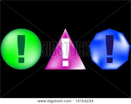 Icon with exclamation mark - vector illustration