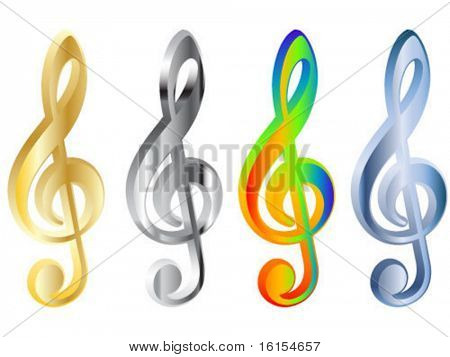 Four 3d treble clef vector illustration