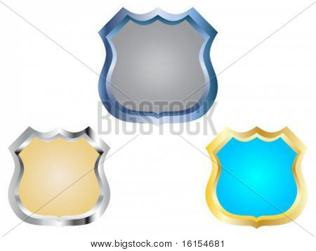Three empty police badge vector illustration