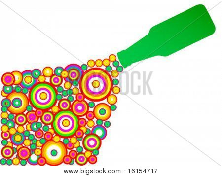 Green bottle upside-down vector illustration