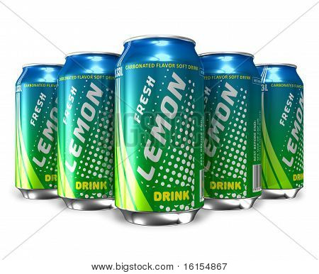 Set of lemon soda drinks in metal cans
