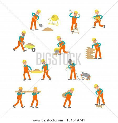 Illustration of construction workers. Characters laborers in different poses in flat design. Construction workers Isolated on white background. Vector cartoon of construction workers