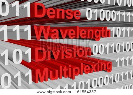Dense Wavelength Division Multiplexing in the form of binary code, 3D illustration