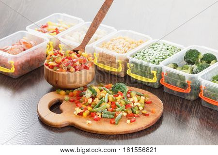 Food packaging ingredients healthy frozen vegetables cooking from freezer container.