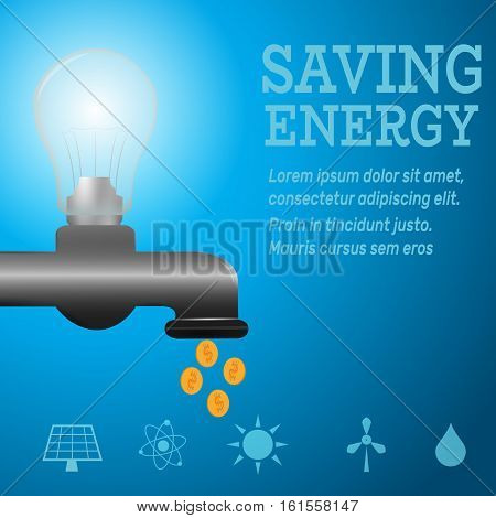 Ecology infographic.Luminous bulb on kitchen bathroom faucet on blue luminous background with Alternative energy resource logos-solar panel, fusion power, solar electricity, wind turbine, hydro energy.