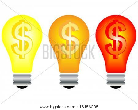Light bulb with dollar inside