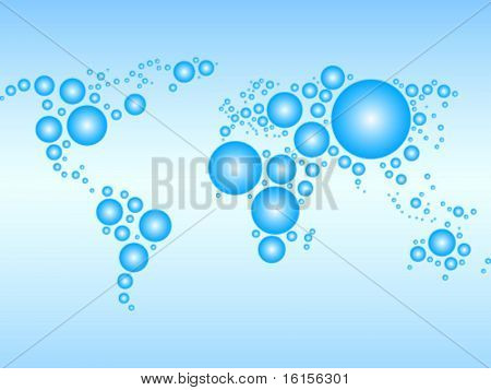 World map made with bubble