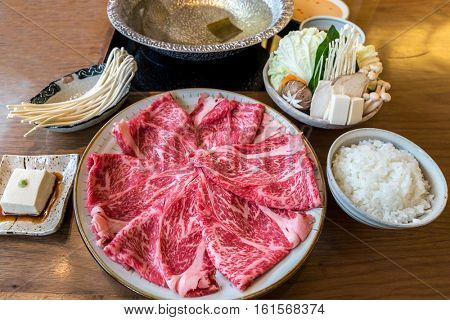 A5 Wagyu beef set for Sukiyaki Shabu Shabu with Vegetable, Groumet Japanese hot pot cuisine