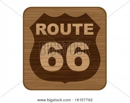 route 66 on wooden banner