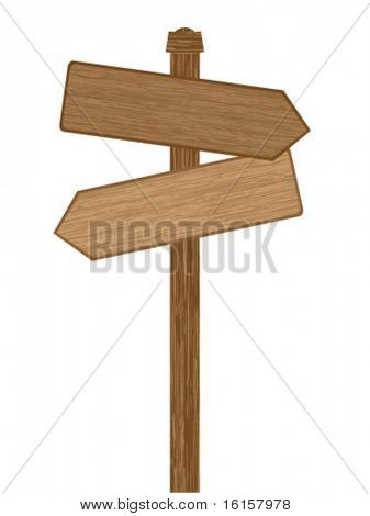 Wooden direction sig