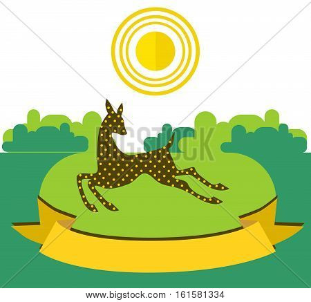 Fawn running on sunny meadow on forest background. Illustration decorated with a yellow ribbon in the foreground Beautiful illustration in flat style.