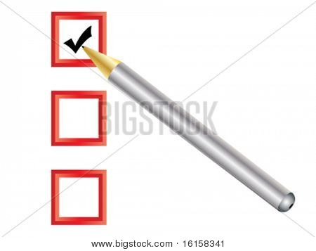 Check box with pen