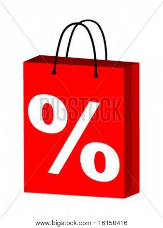 shopping bag with percent on it