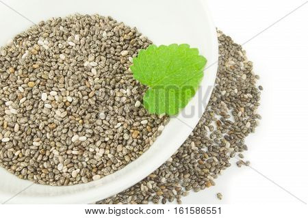Superfood chia seeds on a white background clipping path
