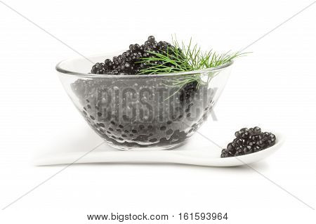 Beluga roe on a white background clipping path