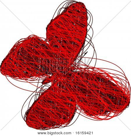 Abstract Red Butterfly - vector illustration