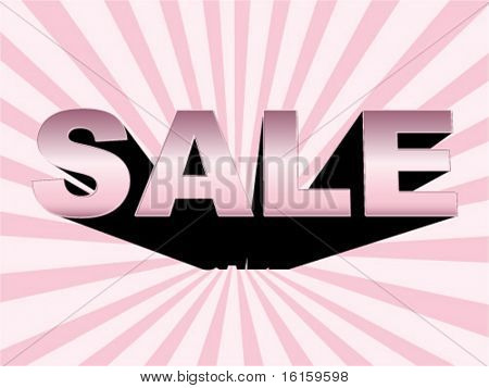 3d sale words with reflection banner