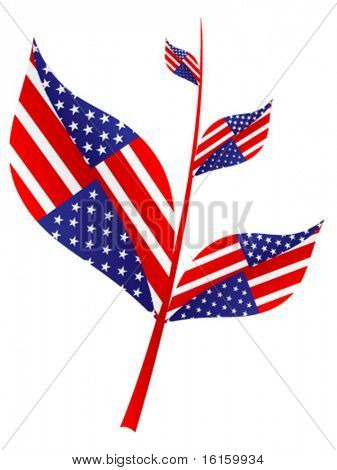 tree branch with american flag on it vector illustration