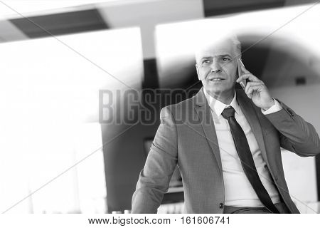 Mature businessman talking on mobile phone in board room