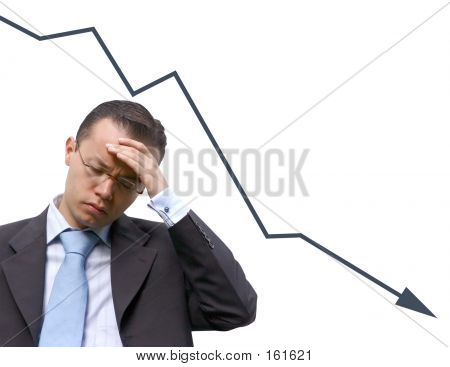 Business Man Worries With Graph - Isolated