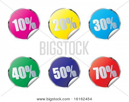 discount stickers different colors