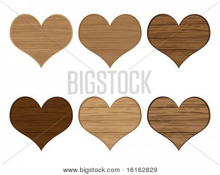 Wooden heart icon