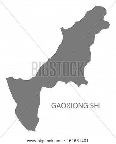 Gaoxiong Shi Taiwan Map grey county silhouette illustration