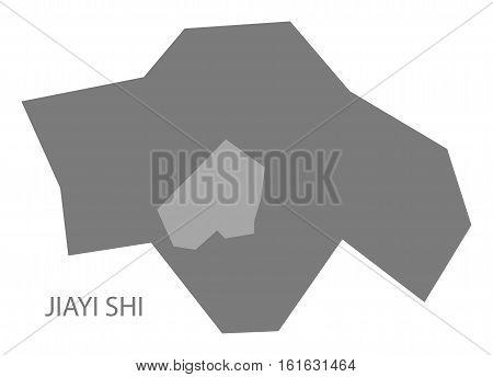 Jiayi Shi Taiwan Map grey county silhouette illustration