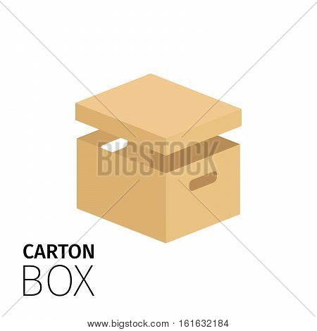 Carton box pack with notch for hands. Vector flat item isolated on white