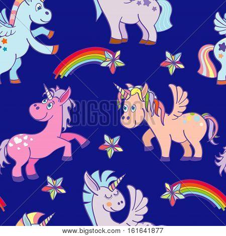 Vector hand drawn unicorns seamless pattern rich blue sky. Funny fairytale pony illustration
