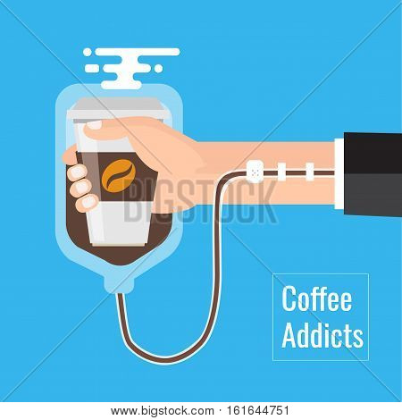 Coffee addiction concept element. business need more coffee