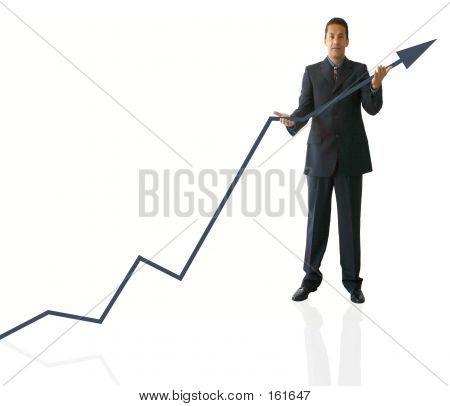 Busines Man Holding Graph