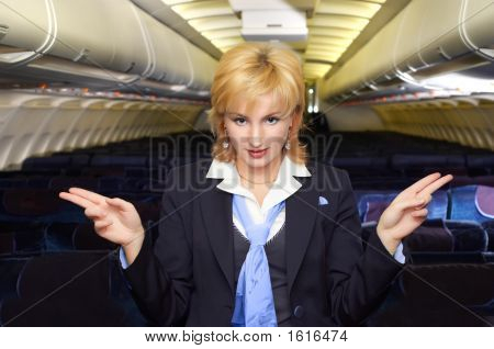 Air Hostess Gesturing