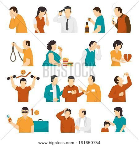 Clinical depression and mental disorders warning signs symptoms treatment and prevention flat icons collection isolated vector illustration