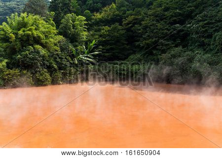 Blood Hell Hot Spring in Beppu of Japan